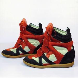 Isabel Marant Bekett Tri-color Suede Wedge Sneaker